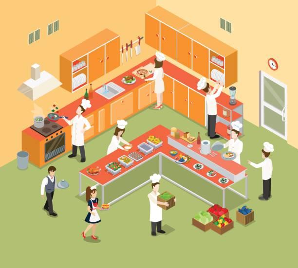 flache isometrische restaurant küche interieur mit chef, koch und küche ausstattung-vektor-illustration. isometrie essen und essen 3d-konzept. - gewerbliche küche stock-grafiken, -clipart, -cartoons und -symbole
