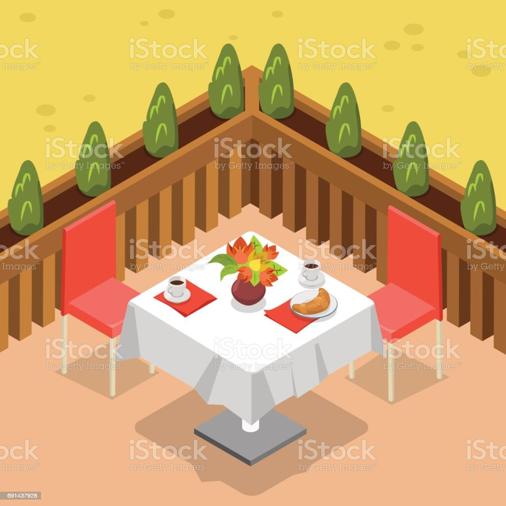 Flat Isometric Restaurant Terrace Outdoor Table For Two Vector - Table for two restaurant