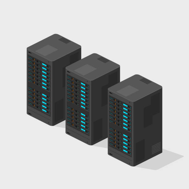 Flat Isometric Servers Computer Hardware Network Vector Icon Computing mainframe for archive and data storage blade stock illustrations