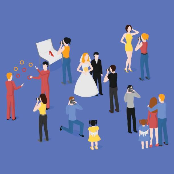 flat isometric set of photographers. wedding, family and kids photography. paparazzi, journalist. fashion, reportage and advertising photographer. - wedding photographer stock illustrations