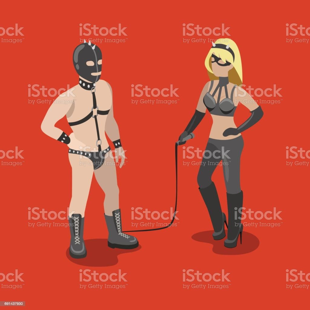 3D Sexy Game flat isometric sexy bdsm adult couple dressed in leather