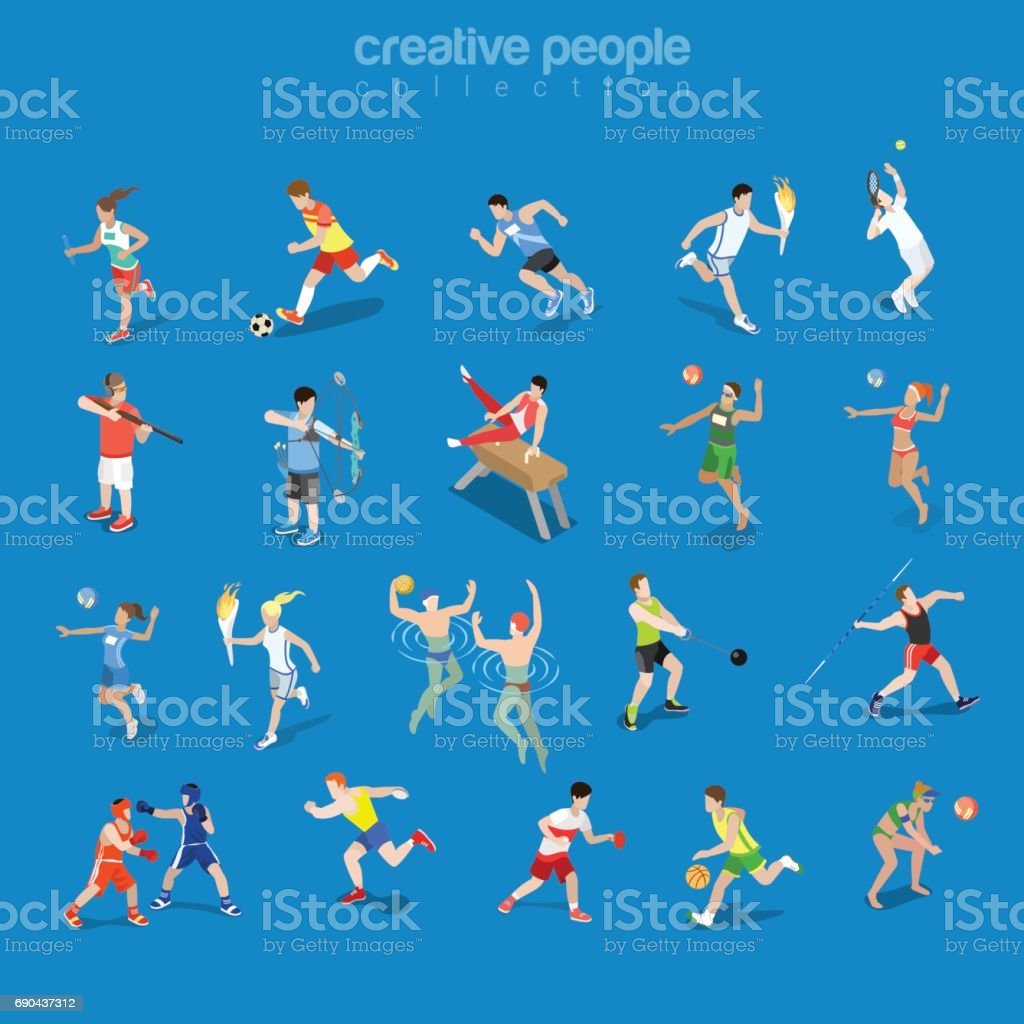 Flat isometric sportsmen in competitive scenes vector illustration set. Team and individual sports 3d isometry concept. Athlete, Swimmer, Tennis, Volleyball and Archery Players. vector art illustration
