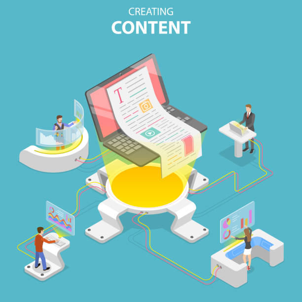 Flat isometric vector concept of content creating, copywriting, creative writing Flat isometric vector concept of content creating, copywriting, creative writing, content marketing. contented emotion stock illustrations