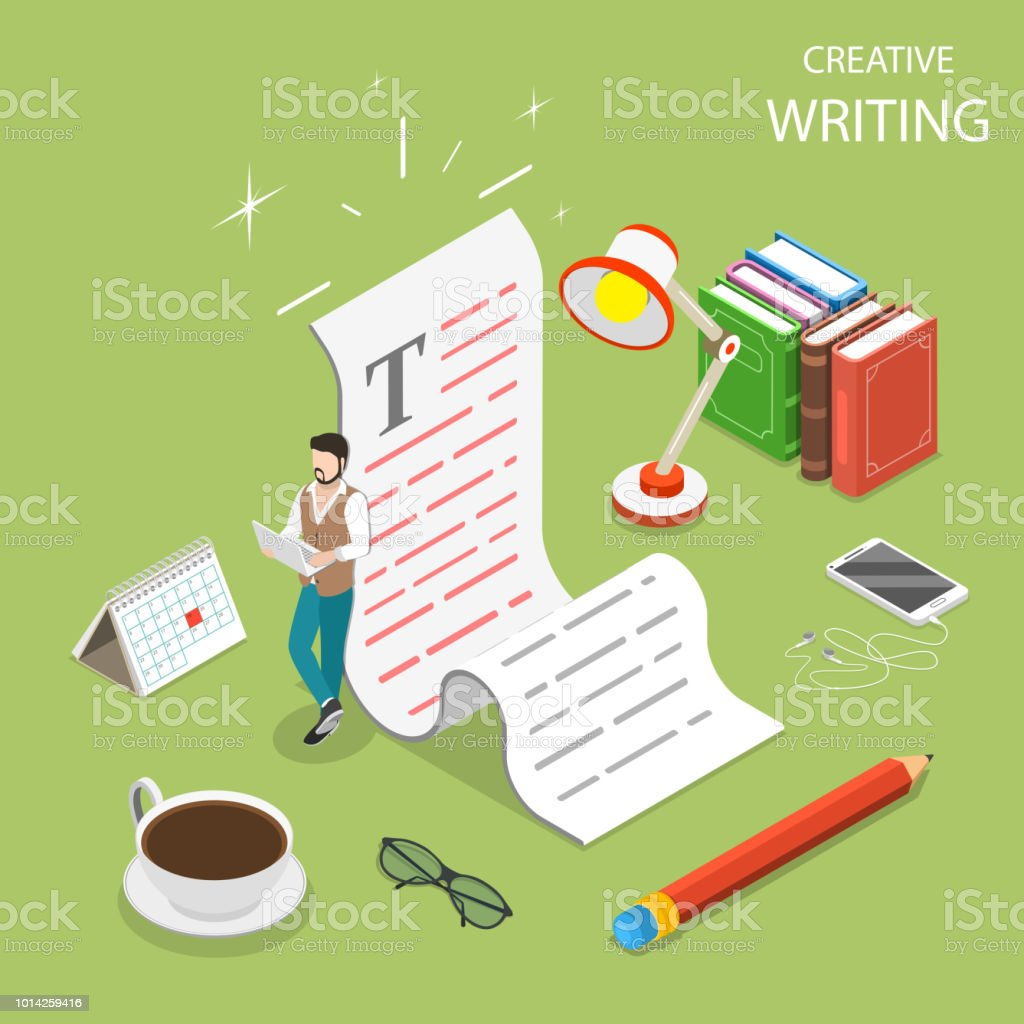 Flat Isometric Vector Concept Of Creative Writing Stock Vector Art