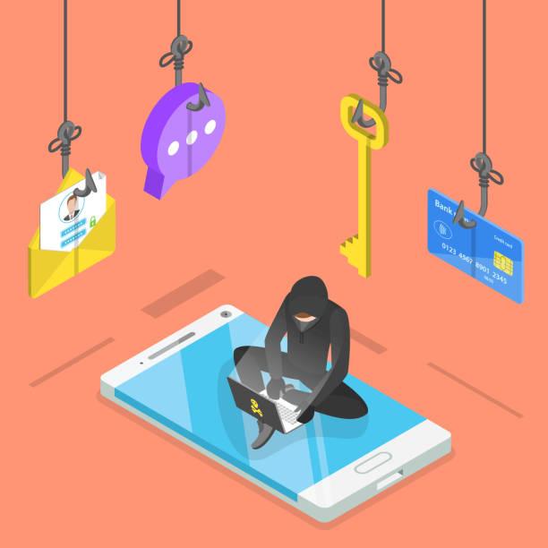 Flat isometric vector concept of phishing, computer virus, hacking. Isometric flat vector concept of phishing, computer virus, hacking, cyber attack. phishing stock illustrations