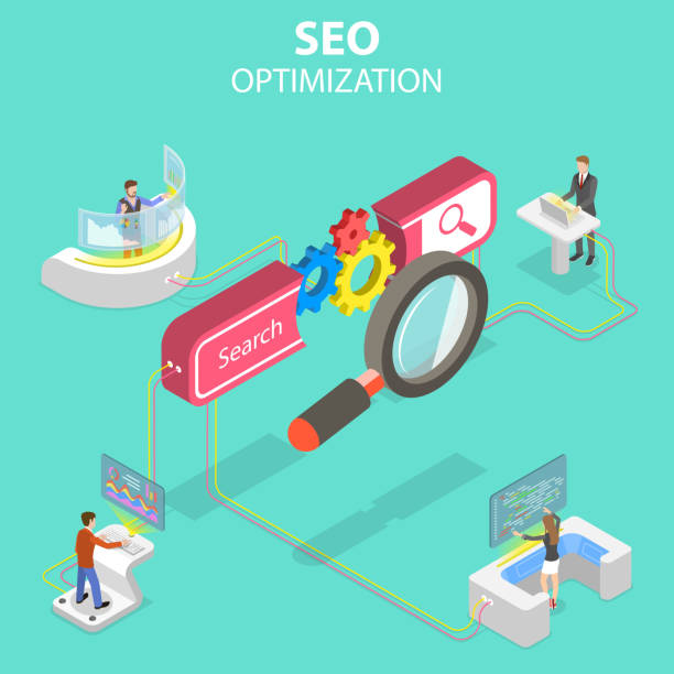 Flat isometric vector concept of search engine ranking, web analytics. Flat isometric vector concept of search engine ranking, web analytics, SEO, website optimization marketing. seo stock illustrations