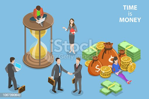 614338352istockphoto Flat isometric vector concept of time is money, income growth, roi. 1067390842