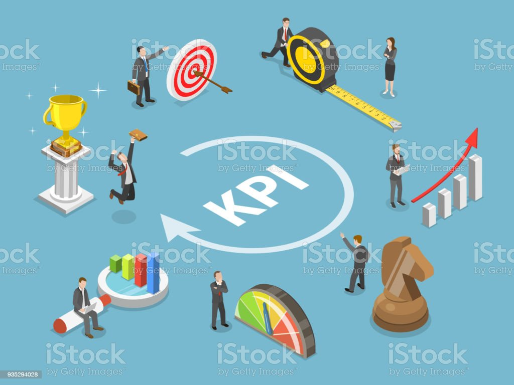 KPI flat isometric vector concept. vector art illustration