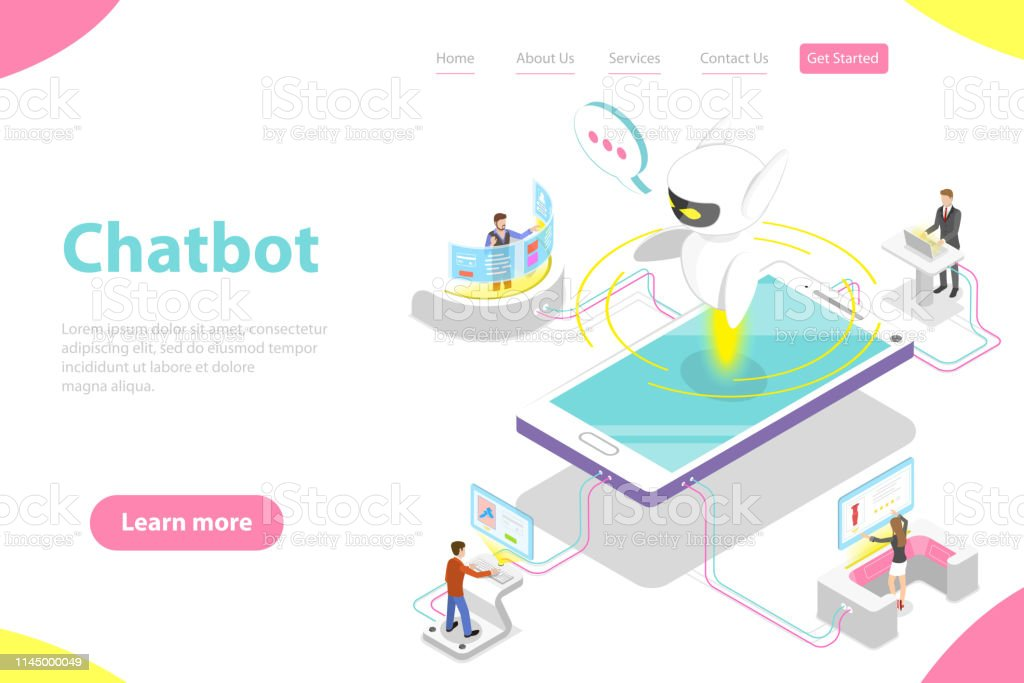 Flat Isometric Vector Landing Page Template Of Chatbot Ai