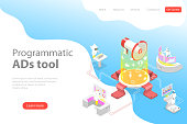 Flat isometric vector landing page template of programmatic advertising, social media campaign, automated digital marketing.