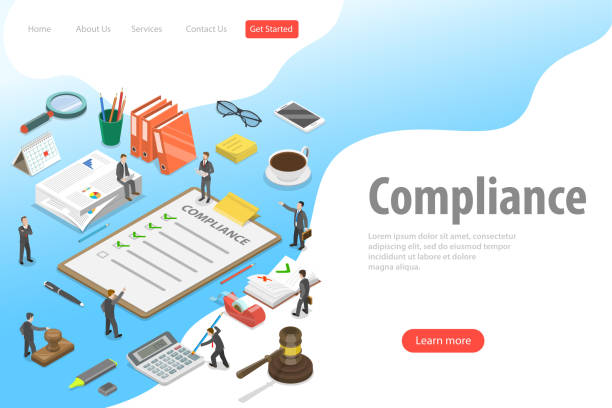 Flat isometric vector landing page template of regulatory compliance. Flat isometric vector landing page template of regulatory compliance. Business people are discussing steps to comply with relevant laws, policies, and regulations. rules stock illustrations