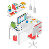 Flat isometric workspace worl place concept vector isolated.