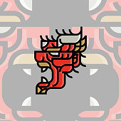 Flat Japanese Demon Mask Tattoo Design