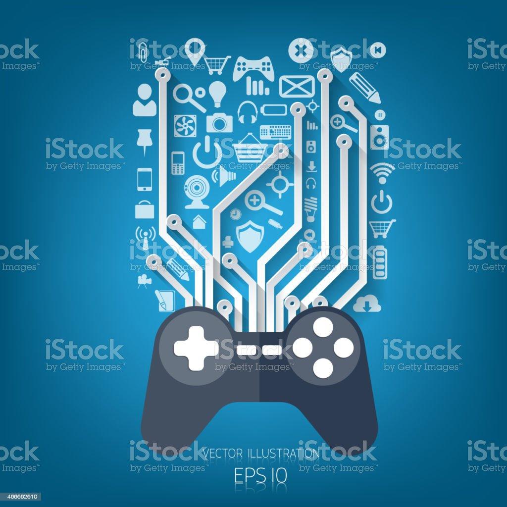 Flat joystick icon.Gaming background vector art illustration
