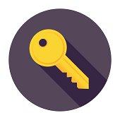 Flat & Long Shadow Key Icon