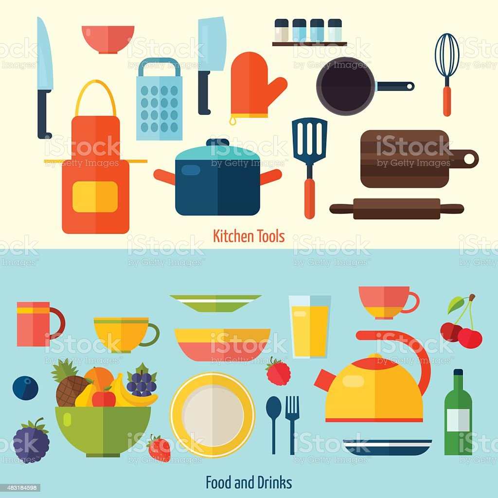 Flat Kitchen And Cooking Background C Stock Vector Art & More Images ...