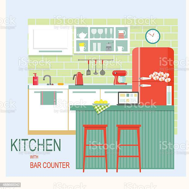 Flat kitchen interior with bar counter vector illustration vector id488665042?b=1&k=6&m=488665042&s=612x612&h=pe4 xjj4g lonhglb lgacllpt vxac8pismmzmhobs=