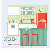 flat kitchen interior with bar counter. vector illustration