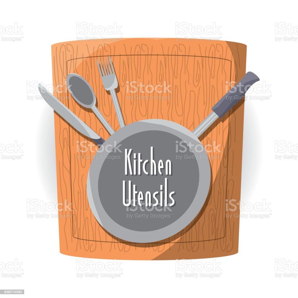 Planche À Découper Humoristique ustensiles de cuisine plat et planche À découper vecteurs