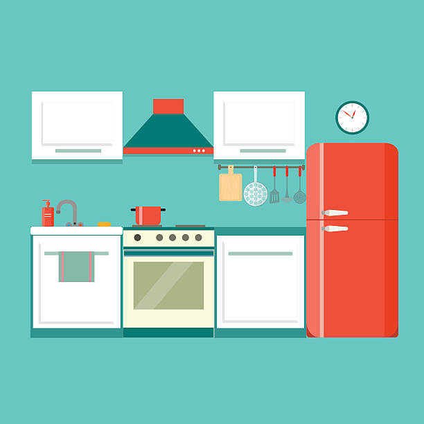 flat kitchen. vector illustration flat blue kitchen with red fridge. vector illustration domestic kitchen stock illustrations