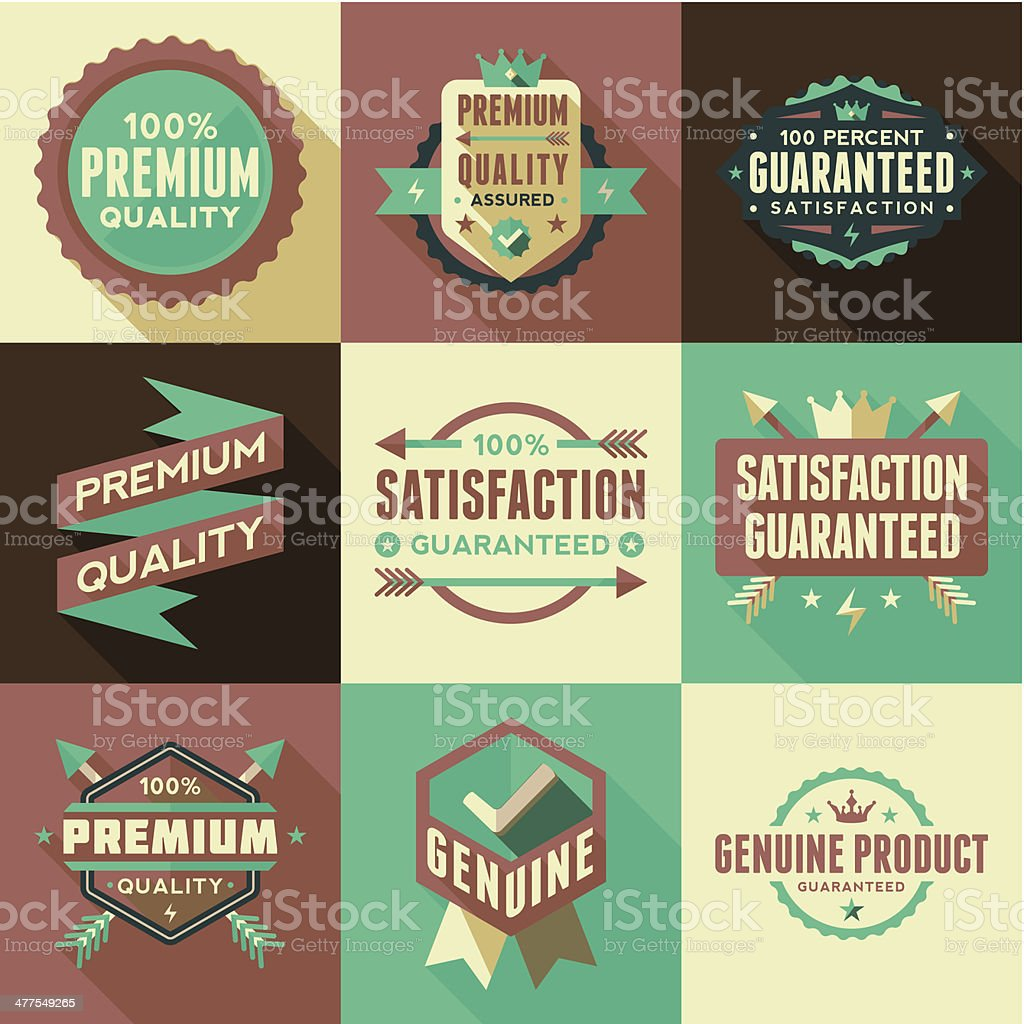 Flat Labels & Badges Set royalty-free stock vector art