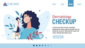 Landing Page Advertising Dermatology Checkup. Woman Dermatologist with Magnifying Glass Examining Patient. Face Skin Rash Problem. Health Skincare. Online Consultation. Cartoon Vector Illustration