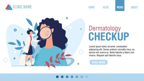 Flat Landing Page Advertising Dermatology Checkup Landing Page Advertising Dermatology Checkup. Woman Dermatologist with Magnifying Glass Examining Patient. Face Skin Rash Problem. Health Skincare. Online Consultation. Cartoon Vector Illustration dermatologist stock illustrations