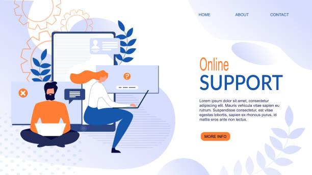 ilustrações, clipart, desenhos animados e ícones de página de aterrissagem plana para aplicativo de serviço de suporte online - costumer