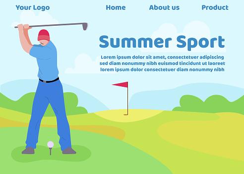 Flat Landing Page Offering Golf as Sport Summer