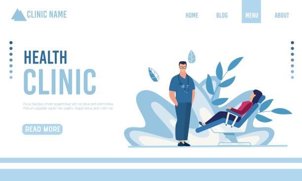 bildbanksillustrationer, clip art samt tecknat material och ikoner med platt målsida presentera modern health clinic - tandläkare