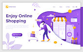 Landing page with man carrying supermarket cart, holding smartphone, buying products in internet store and place for text. Enjoy online shopping. Flat vector illustration for mobile app advertisement.