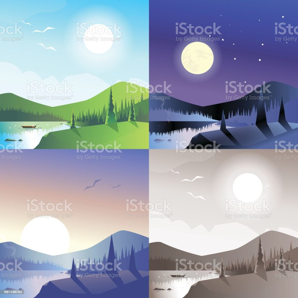 Flat landscape hilly mountains wild forest lake boat scene set. Stylish web banner nature outdoor collection. Daylight, night moonlight, sunset view, retro vintage picture sepia. vector art illustration