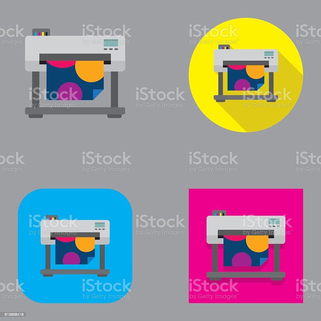 Flat Large Format Inkjet Printer | Kalaful series vector art illustration