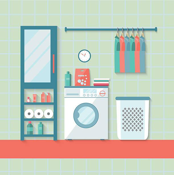 flache wäscheraum mit waschmaschine antreibt. vektor-illustration - schrankkorb stock-grafiken, -clipart, -cartoons und -symbole