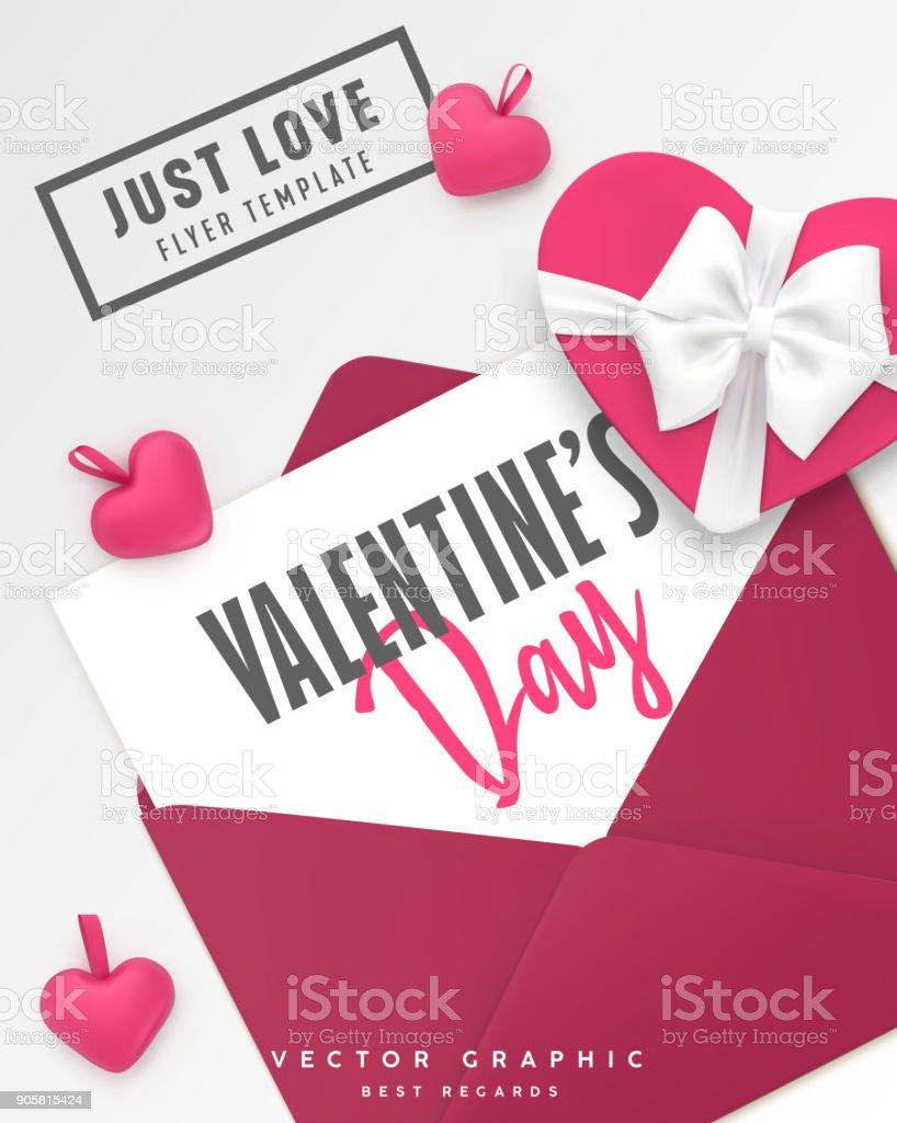 Flach Legen Romantische Valentinstag Hintergrund St Valentine Vektor ...