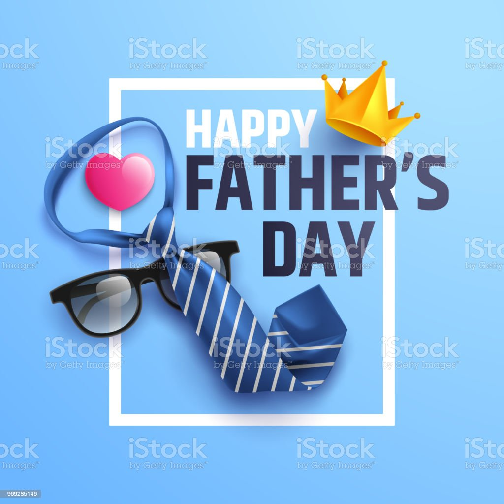 Flat lay style of Happy Father's Day inscription with necktie and glasses on blue background.Greetings and presents for dad.Vector illustration EPS10 vector art illustration