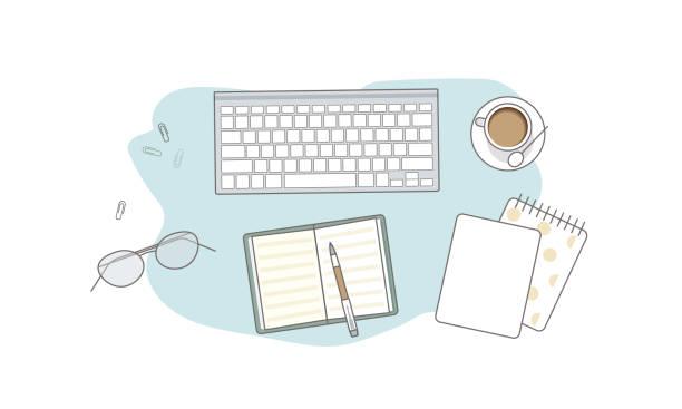 stockillustraties, clipart, cartoons en iconen met vlakke lay met glazen, notitieboekjes, toetsenbord en koffie - e learning