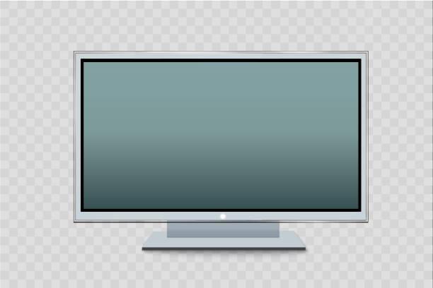 stockillustraties, clipart, cartoons en iconen met platte led monitor van de computer of zwarte fotolijst geïsoleerd op een transparante achtergrond. vector leeg scherm lcd, plasma, paneel of tv voor uw ontwerp - hdri landscape