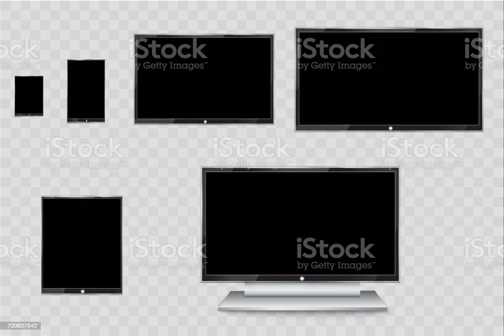 Flat Led Monitor Of Computer Or Black Photo Frame Isolated On A ...