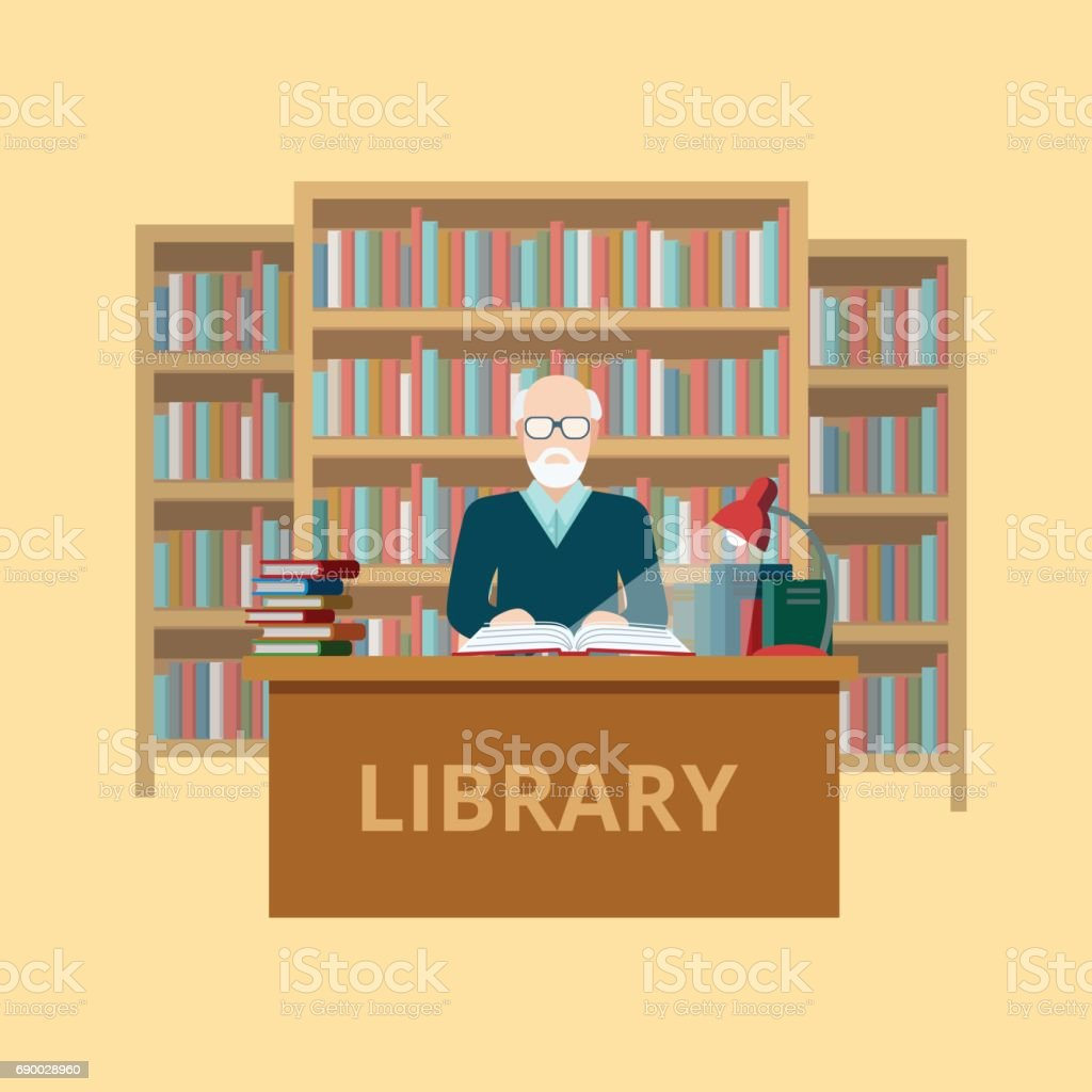 Flat librarian worker or reader at library table vector illustration. Education and knowledge concept.