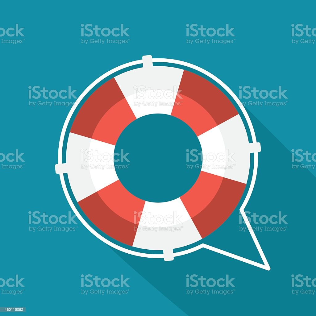 Flat lifebuoy icon vector art illustration