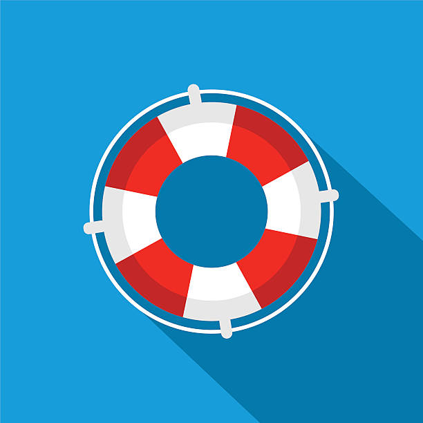 stockillustraties, clipart, cartoons en iconen met flat lifebuoy icon - red