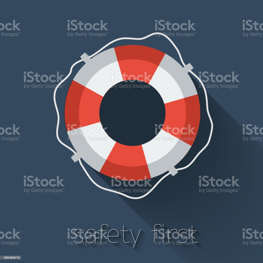 Flat Lifebuoy vector art illustration