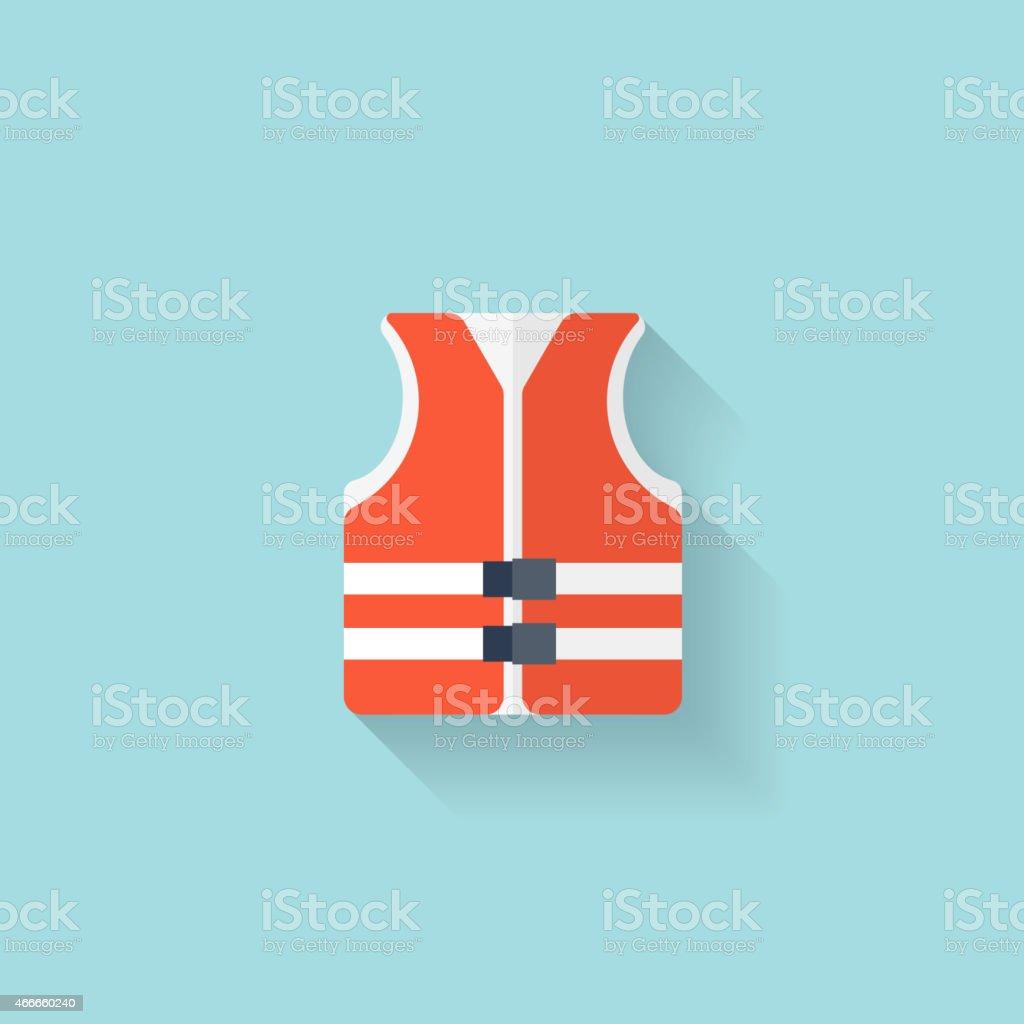 Flat lifejacket web icon.Background wit application symbols vector art illustration