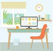 flat light workplace. summer window view. vector illustration