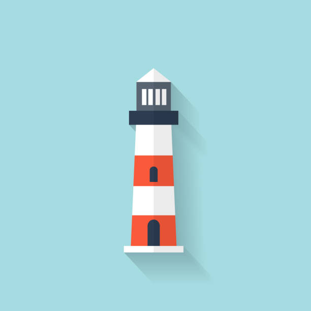 Flat lighthouse web icon Flat lighthouse web icon peggy's cove stock illustrations