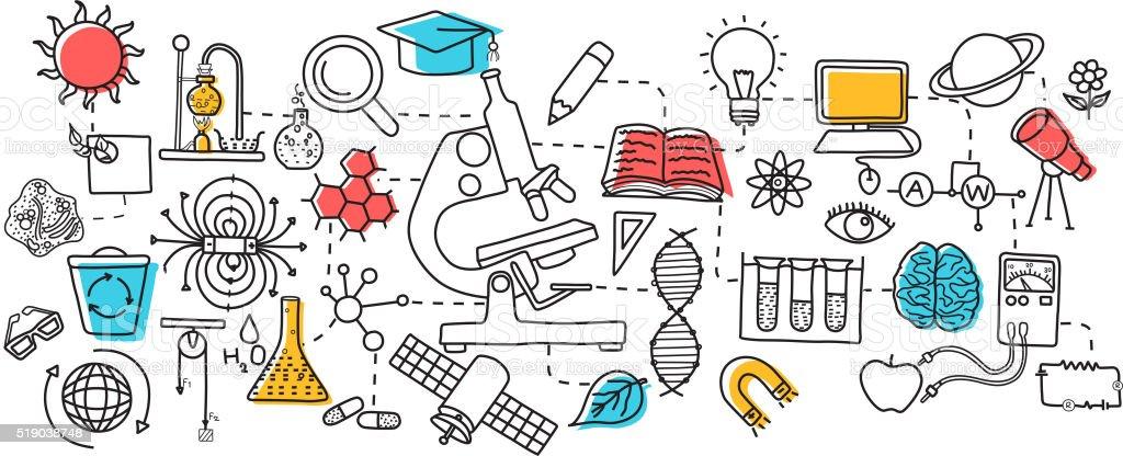 Flat line art design of Science concept vector art illustration