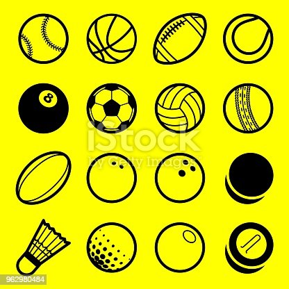 Vector flat line art play sport balls logo icon isolated objects set on white background