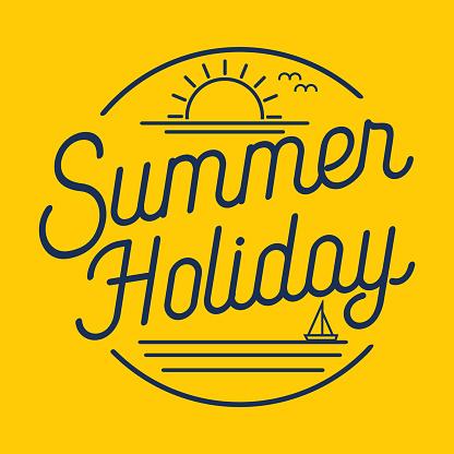 Flat line art summer holiday, vector