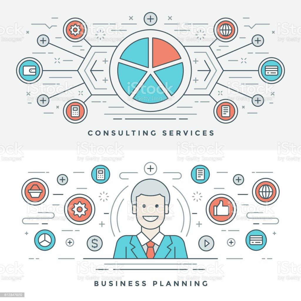 フラットライン事業計画およびコンサルティングますベクトルイラスト